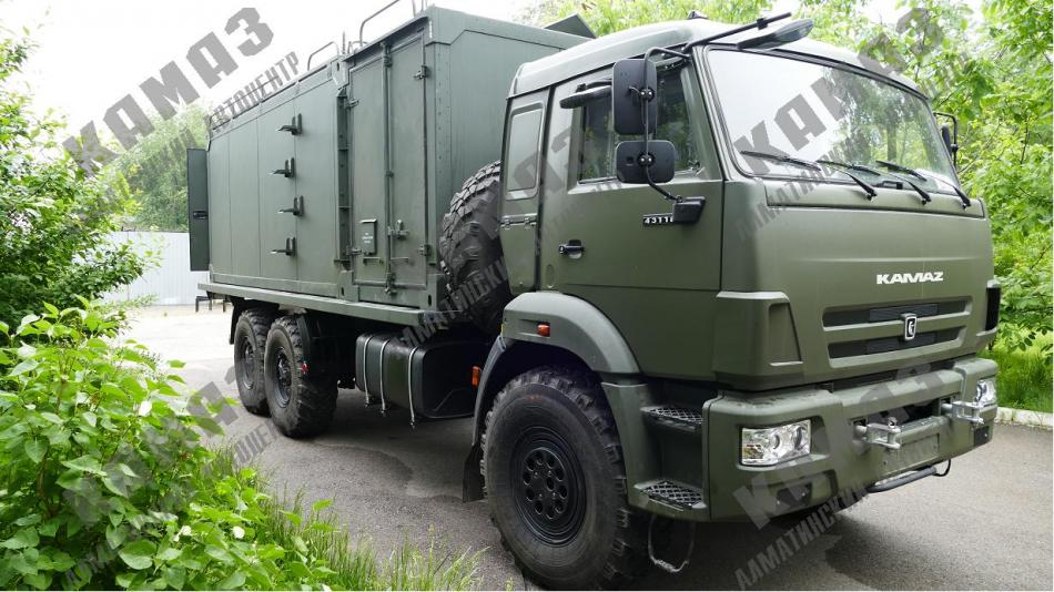 Кузов-контейнер для размещения оборудования и организации рабочих мест на шасси КАМАЗ 43118