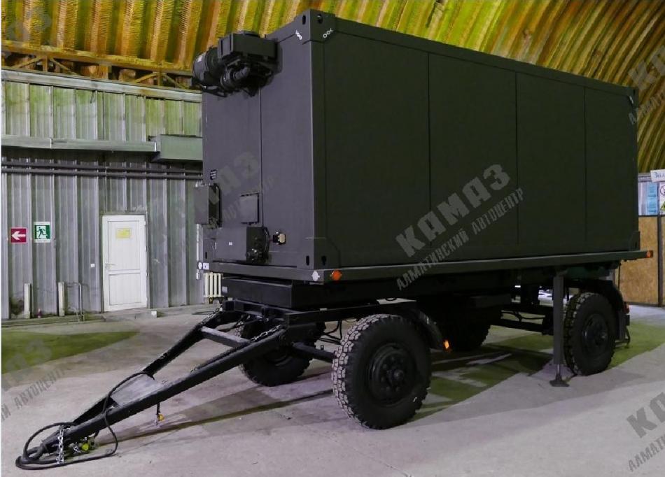 Жилой кузов-контейнер на шасси двухосного прицепа 83412