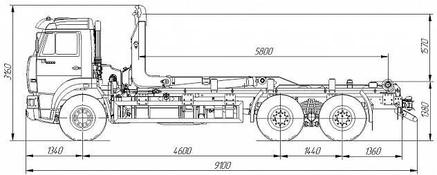 Автомобиль 658667-2032-02 c крюковым погрузчиком